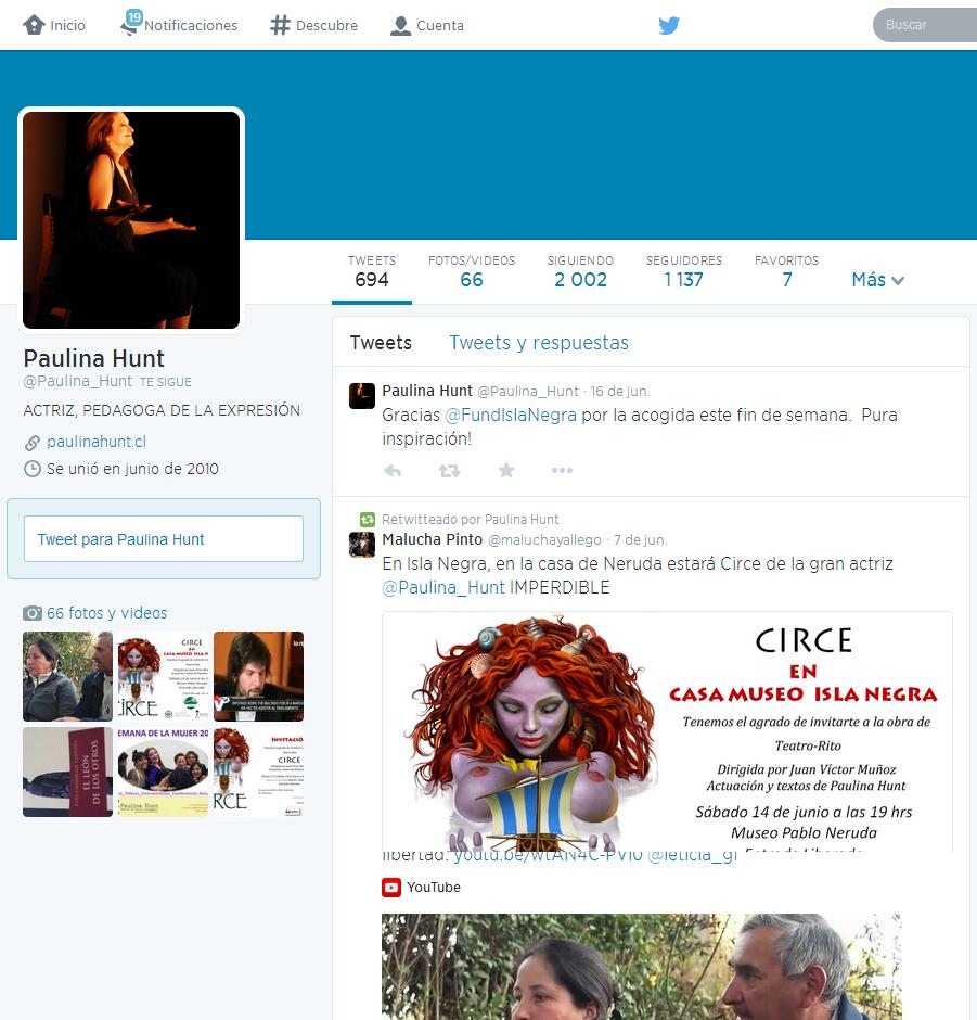 Paulina Hunt en Twitter