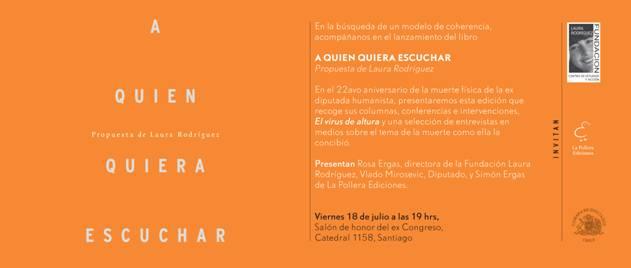 """Presentación del libro  """"A quien Quiera Escuchar – Propuesta de Laura Rodríguez"""""""